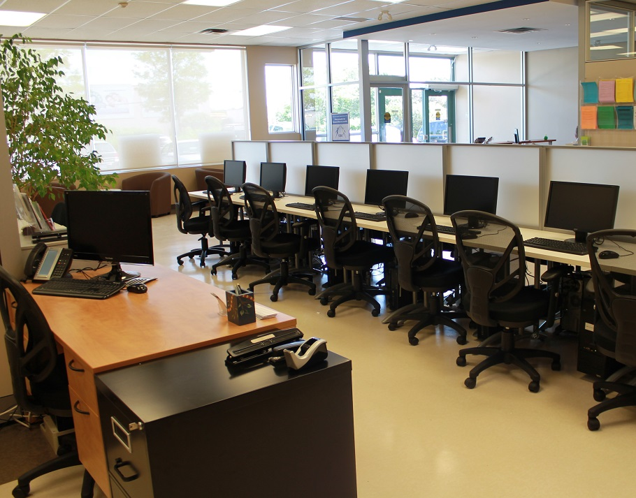 View of many computer terminals in CERC resource room