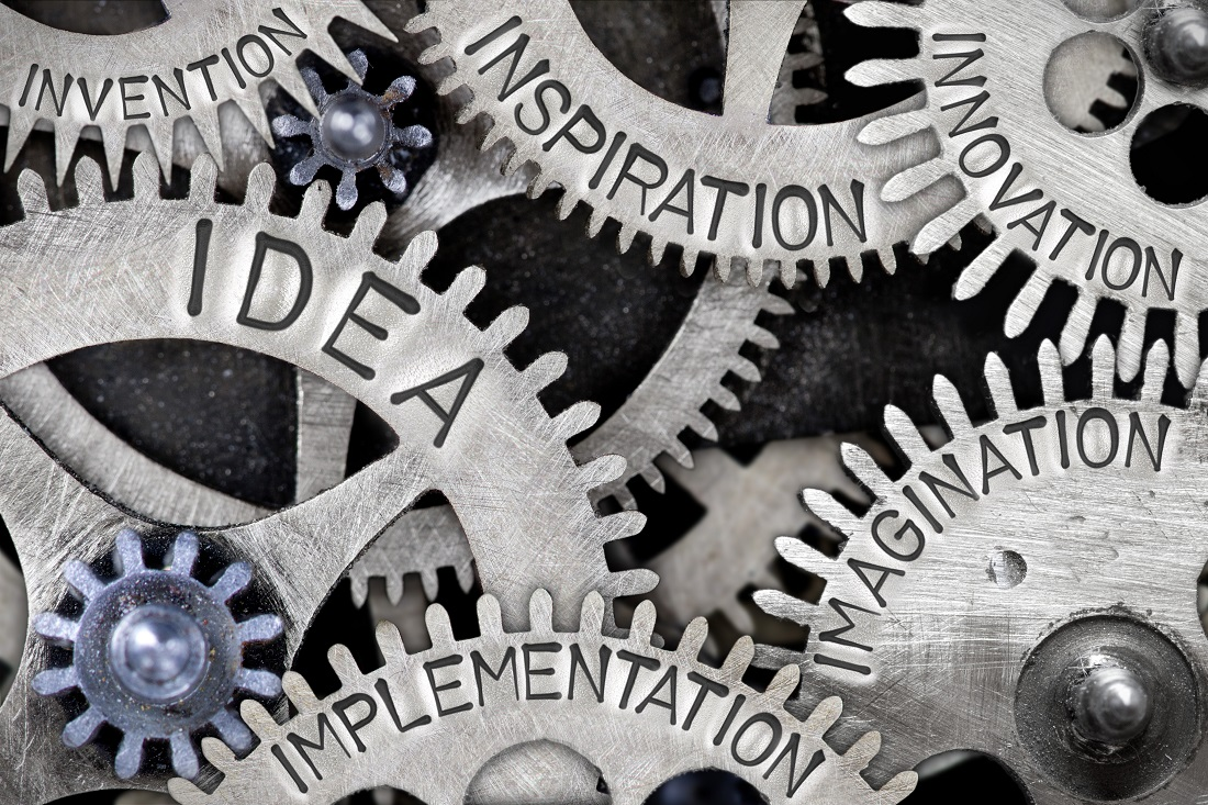 Gears with words such as, Idea, Inspiration and implementation